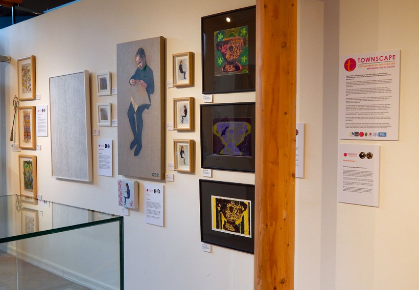 Gallery wall featuring work by Susan Dodds, Sheri Gee, Renate Wilbraham and Harriet Brigdale