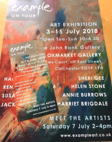 photo of a poster and flier for Example art group's upcoming exhibition, at Oxmarket Gallery, Chichester