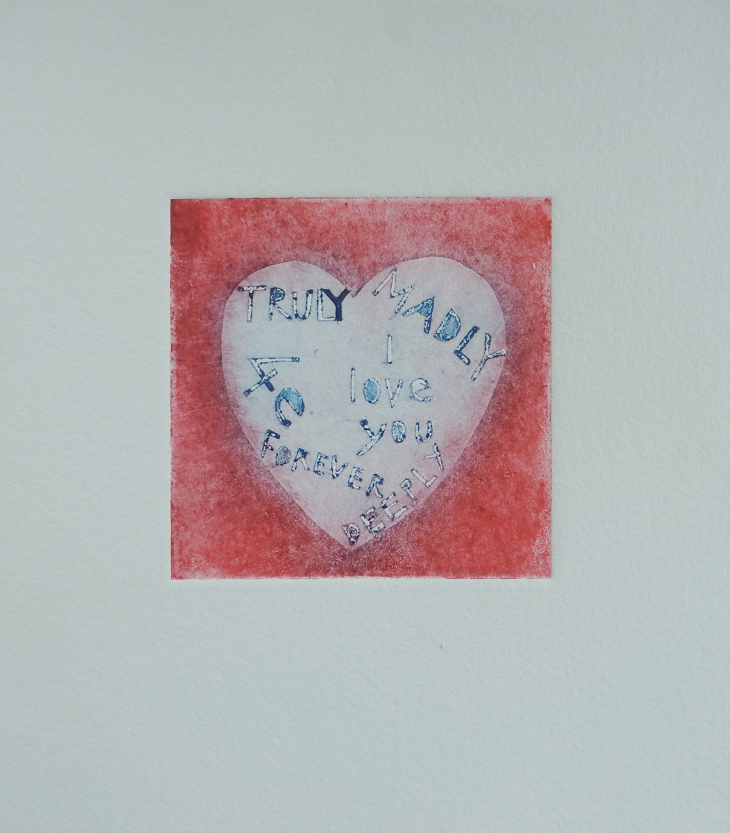 A collograph of a heart, by Annie Burrows