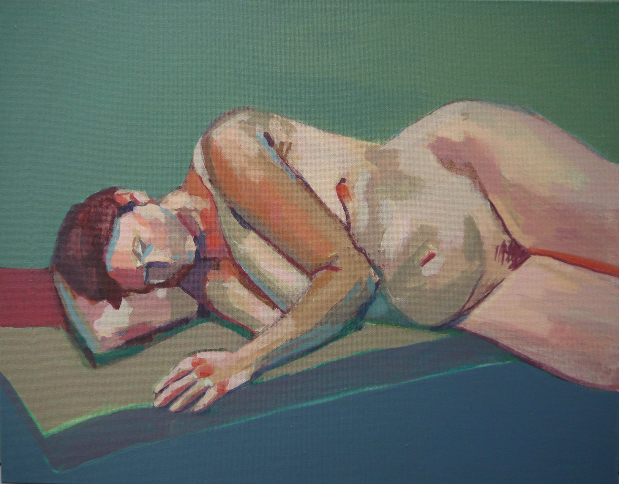 Painting of a life model, reclining, by Helen Stone