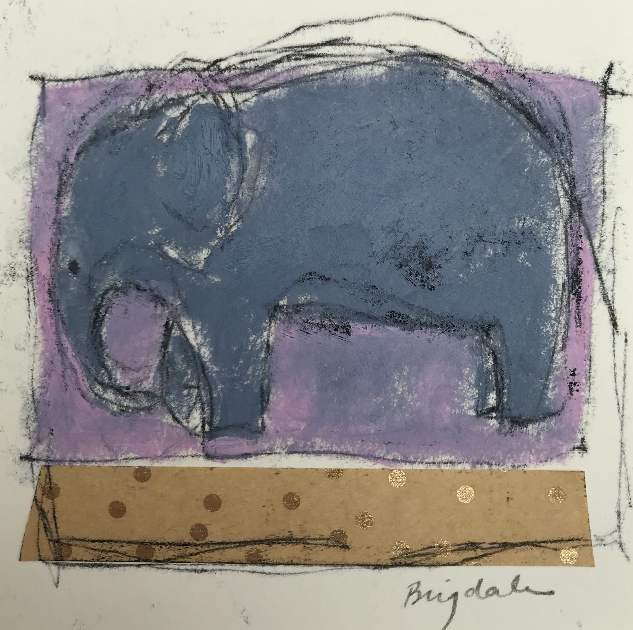 Collage and painting of a grey elephant, by Harriet Brigade