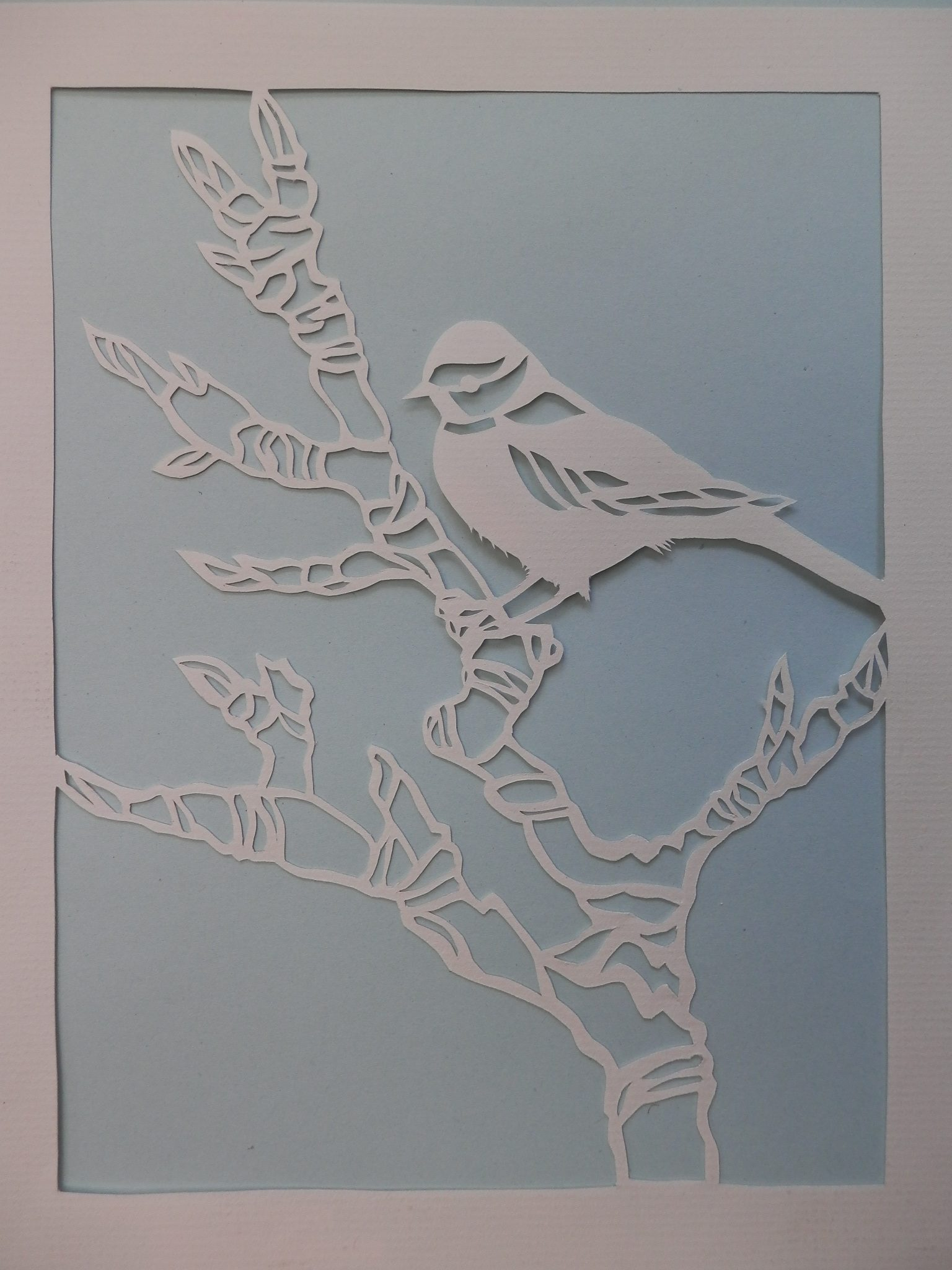 Paper cut of a bird on a branch by Jackie Watkins
