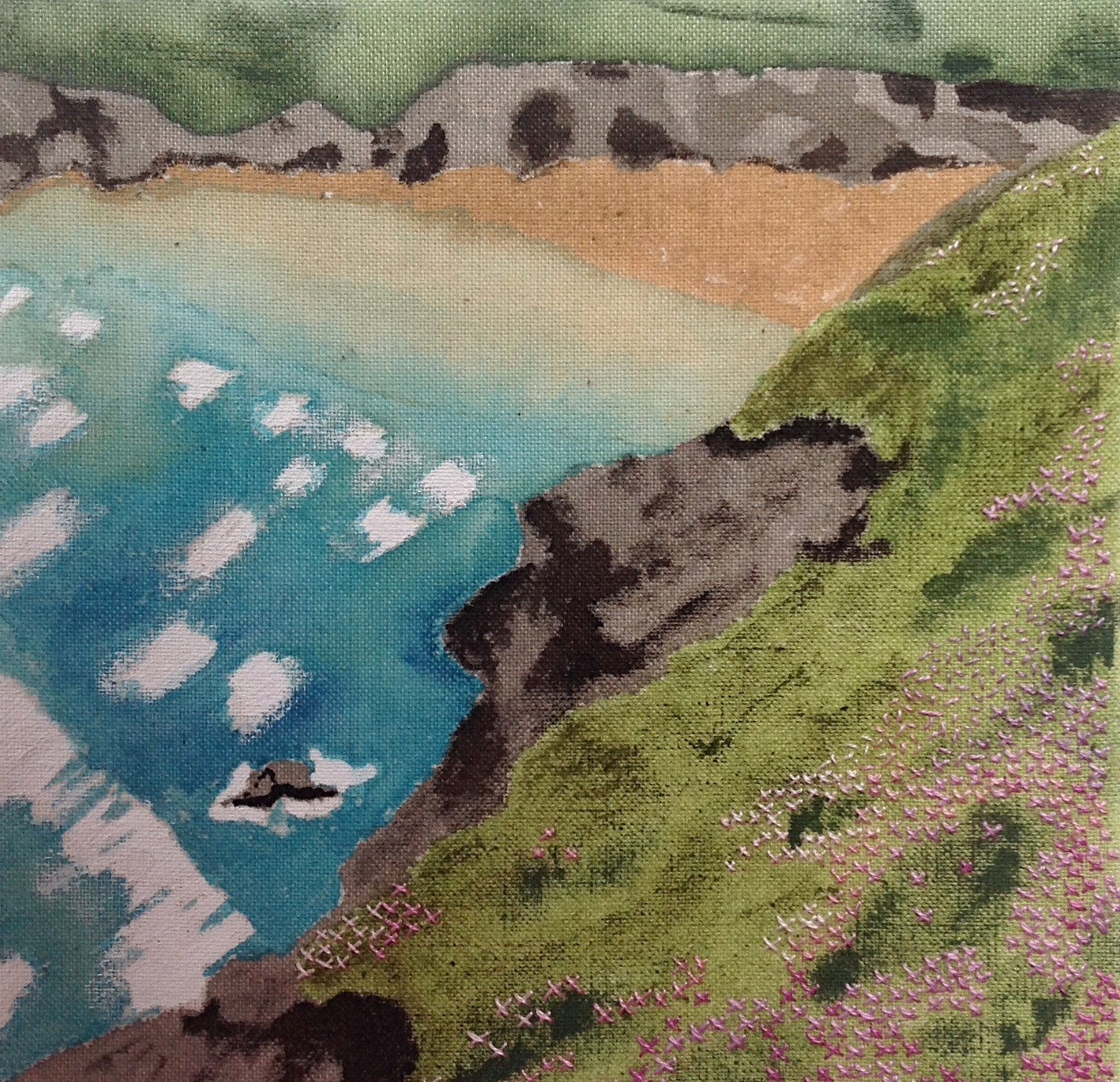 Painting and embroidery of a sea scene by Renate Wilbraham