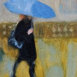 Painting of woman walking in the rain, with umbrella, by Sheri Gee