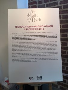 Board with information on the Holly Bush Emerging Woman Painter Prize