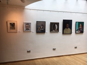 Photo of some of the finalists work in the Holly Bush Emerging Woman Painter Prize