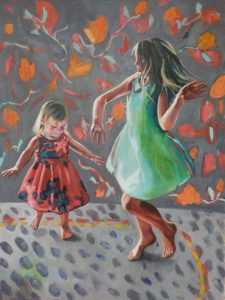 Painting of two girls dancing, by Sheri Gee