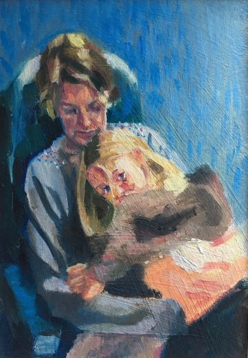 Oil painting of a mother and child on a train journey, by Sheri Gee