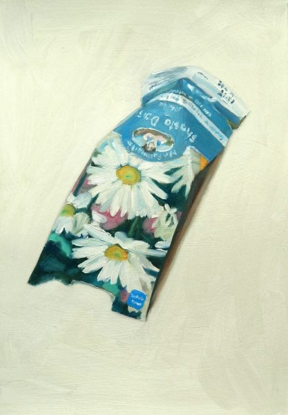 Shasta Daisy seed packet painting by Sheri Gee